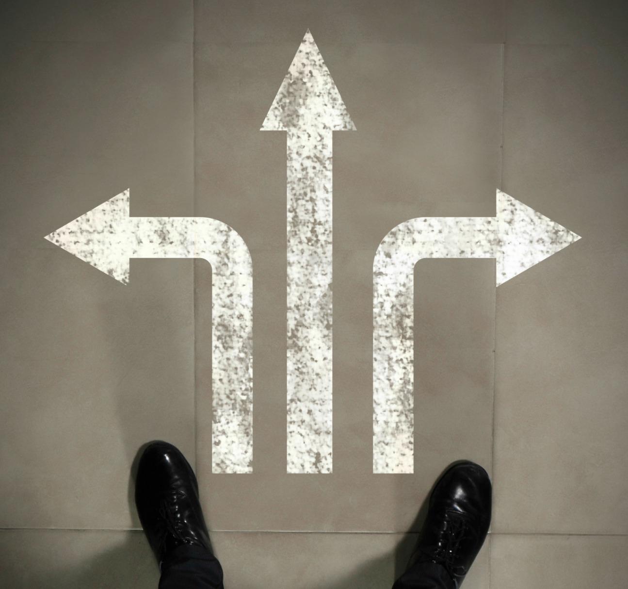 choices- feet with three arrows