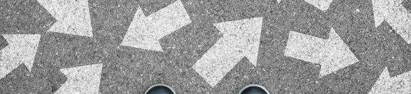 One standing on the road to future life with many direction sign point in different ways. Decision making is very hard to design.
